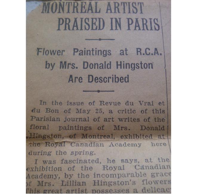 Montreal Artist Praised in Paris <span style=