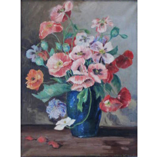 Poppies In A Blue Vase <span>JOY GRAY-DONALD</span>