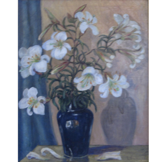 White Lilies With Blue Vase <span>CORNELIA MOLSON</span>