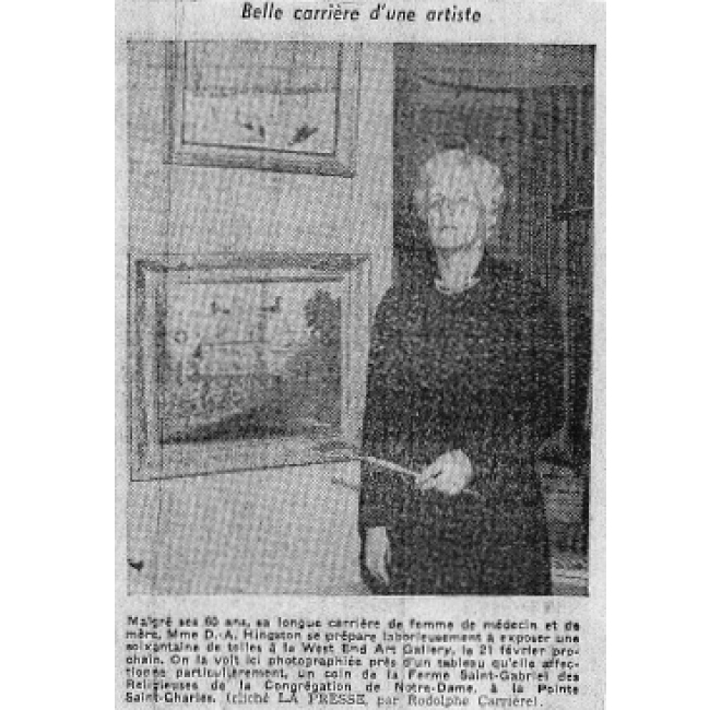 Lillian with one of her Paintings<span> LA PRESSE, FEB. 14 1950</span>