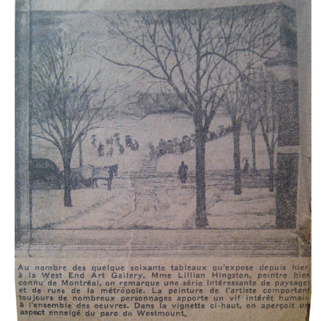 Westmount Park under snow <span>LA PRESSE, FEB. 21 1950</span>