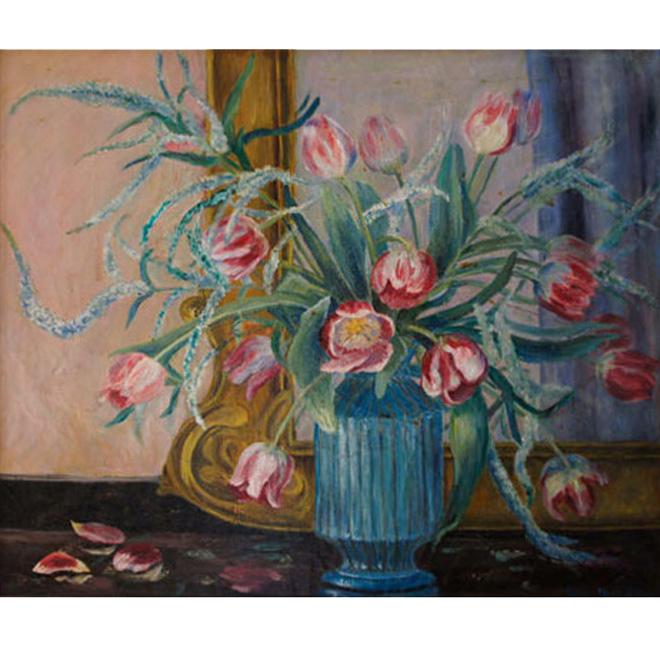 Tulips In Blue Vase <span>DAVID PORTER</span>