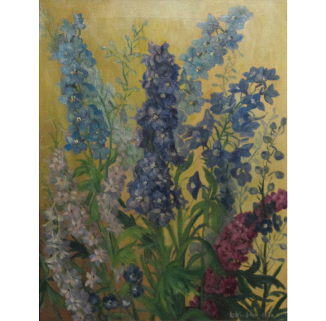 Delphiniums with Gold Background <span>CORNELIA MOLSON</span>