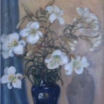 White Lilies With Blue Vase <span>CORNELIA MOLSON</span>