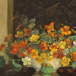 Nasturtiums with screen painted by artist <span>WILLIAM H.DALY</span>