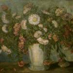 Dahlias In White Vase <span>GALES & GRAY-DONALD FAMILY</span>